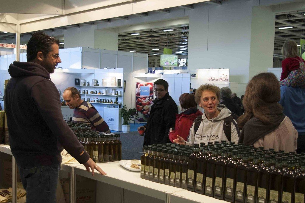 Informing visitors about our olive oil.